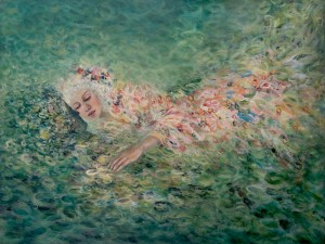 Ocean and Spring. Acrylic on panel, 122 x 91.5cm
